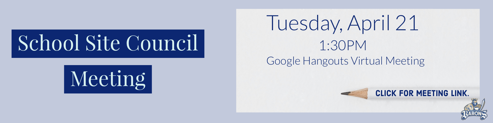 School Site Council Virtual Meeting Via Google Hangouts On Tuesday April 21 at 1:30pm.